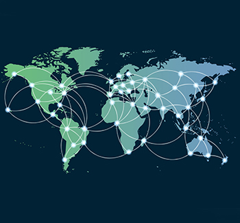 World map with dots showing international logistics network