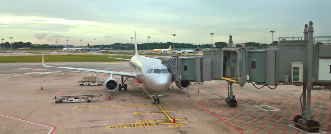 an airplane at changi international airport in singapore